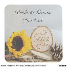 Rustic Sunflower Woodland Wedding Square Paper Coaster