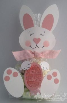 handmade Sweet Bunny Bag by suestampfield ... luv the happy face she made .... this design could be adapted for a card too ... luv it!