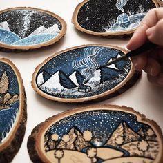 Wood slice art - Scenic Illustrations on Wood Slices by Meni Chatzipanagiotou – Wood slice art Wood Burning Crafts, Wood Burning Art, Wood Crafts, Colossal Art, Guache, Art Original, Wood Ornaments, Wood Slices, Wood Art