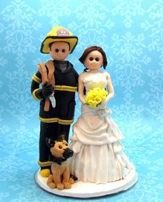 Custom Firefighter with dog Wedding Cake Topper Firefighter Wedding Cakes, Fireman Wedding, Dog Wedding, Dream Wedding, Fire Fighter Cake, Fireman Cake, Dog Cake Topper Wedding, Clay Mugs, Firefighting