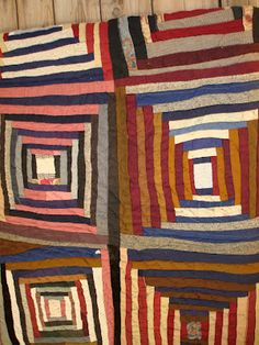 primitive ~ Courthouse Steps = beautiful idea for scrap afghan squares, knit or crochet