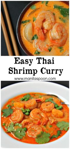 A quick and easy way to make the most delicious Thai Shrimp Curry. Freeze if there are left-overs - if there's any! :) Use lite coconut milk to make healthier Curry Recipes, Fish Recipes, Seafood Recipes, Asian Recipes, Indian Food Recipes, Soup Recipes, Cooking Recipes, Healthy Recipes, Recipies