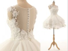 Cute Crystal Beaded Venic Lace Appllique See Through Back With Button Puffy Organza Short Wedding Dress Cap Sleeve Bridal Gown