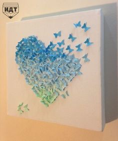 Easy and Fun Valentines Crafts for Kids to Make - Paper Butterfly Origami Art 3d Paper Art, Diy Paper, Paper Crafts, Hobbies And Crafts, Diy And Crafts, Arts And Crafts, Butterfly Crafts, Butterfly Art, Butterfly Mobile