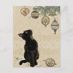 Vintage Christmas Black Cat Looking At Ornaments Postcard Vintage Christmas Cards, Christmas Cats, Vintage Cards, Christmas Paper, Funny Christmas, Christmas Ornaments, Christmas 2016, Christmas Sweaters, Christmas Ideas