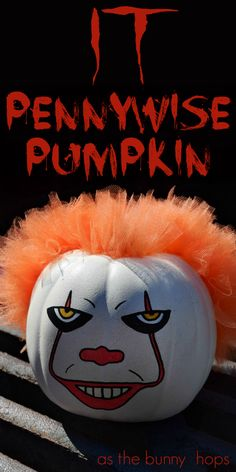 This Pennywise pumpkin is the cutest-and creepiest thing you're likely to find in the storm drain this Halloween! Get the details on how to make your own It Movie-inspired pumpkin, along with lots of Halloween craft ideas, at As The Bunny Hops! Halloween Pumpkin Carving Stencils, Halloween Pumpkins, Halloween Crafts, Halloween Decorations, Pumpkin Face Paint, Pumpkin Drawing, Pumpkin Painting, Scary Clown Face, Scary Clowns