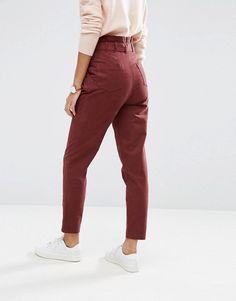 ASOS | ASOS High Waist Paperbag Straight Leg Pants