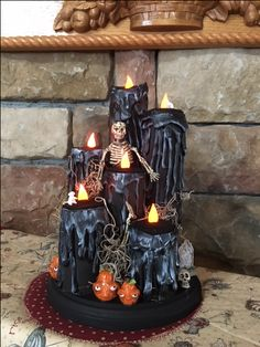 Made by me from paper towel rolls, faux candles, Halloween candles Quick Halloween Crafts, Halloween Tricks, Scary Halloween Decorations, Halloween Candles, Halloween Skeletons, Disney Halloween, Halloween Projects, Halloween House, Fall Halloween