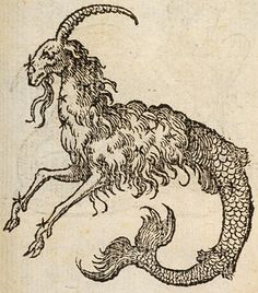 Lyon : Ian de Tournes et Guil Gazeau, Page Notes Capricorne: one-horned goat with fish tail Theme Bestiary Weird Creatures, Mythical Creatures, Art Et Illustration, Illustrations, Capricorn Goat, Arte Sketchbook, Occult Art, Inspiration Art, Mythological Creatures