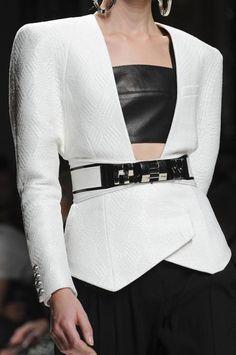 Balmain - Textured Peplum Jacket & Black, White & Silver Belt