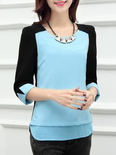 Classical Round Neck Loose Fitting Patchwork Blouses | fashionmia.com Blouse Styles, Blouse Designs, Girl Fashion, Fashion Outfits, Fashion Design, Casual Dresses, Casual Outfits, Western Dresses, Perfect Little Black Dress