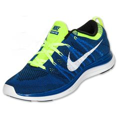 cheap for discount 4baeb f3fc2 Mens Nike Flyknit Lunar 1 Game Royal White Black Volt 554887 410