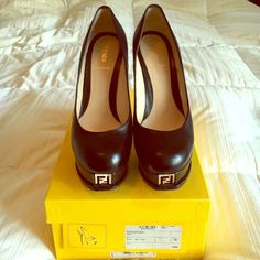 HOST PICK Fendi black Nappa pumps  AUTHENTIC  Authentic Fendi's signature Décolleté black Nappa Leather pump size 40. I bought these and wore them a handful of times they were just too big for me. Comes in original box, with Bloomingdales scan barcode tag still on the box. From a smoke free home. FENDI Shoes Heels