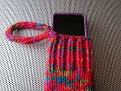 knit gadget cozy red/blue/green/purple by bshorr on Etsy