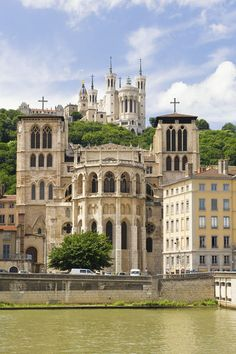 Cathedral Saint Jean and Basilica Notre-Dame de Fourvière, Lyon Rhones-Alpes, France. One of THE most beautiful basilicas I have ever seen.