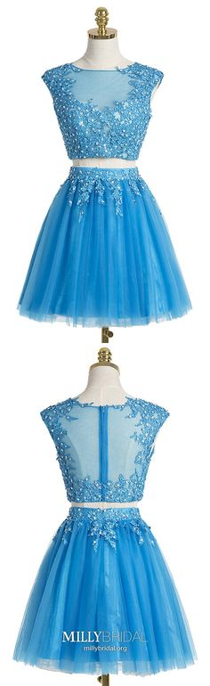 Two Piece Homecoming Dress Scoop Appliques Blue Homecoming Dress Short Prom Dress Sexy Party Dress Junior Homecoming Dresses, Elegant Homecoming Dresses, Two Piece Homecoming Dress, Dresses Elegant, Prom Dresses For Teens, Dresses Short, Pageant Dresses, Trendy Dresses, Sexy Dresses