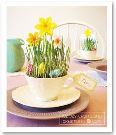 Teacup Crafts: Easter Place Cards-- I used wheat berries from the health food store, next year cute tea cup idea Easter Crafts, Holiday Crafts, Easter Ideas, Easter Decor, Easter Buffet, Easter Projects, Easter Recipes, Holiday Ideas, Teacup Crafts
