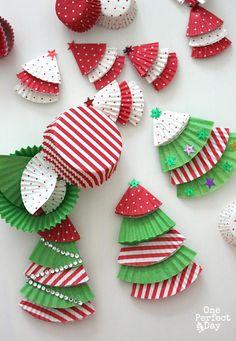 arbolitos de navidad con vasitos de magdalenass