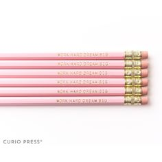Work Hard Dream Big Pink and Gold Printed Pencil Set Cute Pencil Set... ($3) ❤ liked on Polyvore featuring home, home decor, office accessories, home & living, light pink, office, office & school supplies, gold pencils, motivational mugs and pink pencils