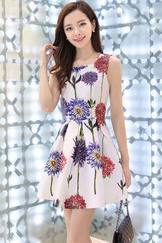 Charming Floral Pattern A-Line Dress