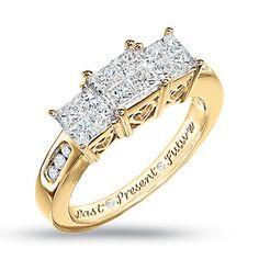 12 best past present future rings images on pinterest princess cut quad princess cut diamond three stone past present future ring in white gold aloadofball Gallery