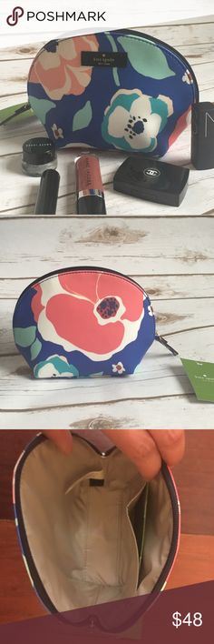 """Floral Kate Spade Cosmetics Bag Brand new with tags Kate spade cosmetics case in floral print . measurement:  7 1/2"""" x 5 1/2"""" x 2 3/4""""  ribbon zipper pull coated canvas satin lining, a card pocket - PRICE FIRM - NO TRADES kate spade Bags Cosmetic Bags & Cases"""