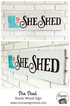 She Shed Rustic Wood Sign Looking for the perfect complement to your She Shack decor? You've found it in this unique, hand-painted wood sign! It also makes a great gift for a gardener with their own potting shed.  Click the pin to get one of these eye-catching signs today!   #oconeesignshack #rustichomedecor #rusticwoodsign #shesheddecor #handpaintedwood #giftforgardener