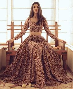 Items similar to hand block block block printed floral indian lehenga set in cotton on etsy - This cream, ocher and red floral Lehenga set includes a Lehenga skirt and blouse. Dress Indian Style, Indian Fashion Dresses, Indian Designer Outfits, Pakistani Dresses, Fashion Outfits, India Fashion, Fashion Boots, Fashion Clothes, Style Fashion