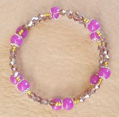 Shades of Purple Memory Wire Stainless Steel Bracelet by KalaaStudio on Etsy