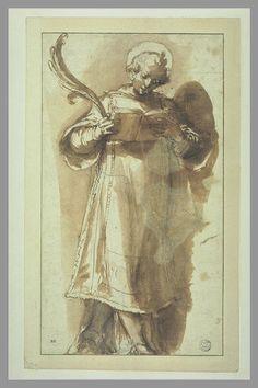 Inventaire du département des Arts graphiques - Un saint diacre debout tenant un livre et une palme - VANNI Francesco