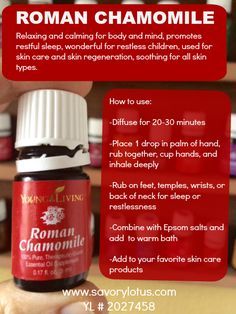 FREE Essential Oils E-Course and FREE E-Book Roman Chamomile essential oil: Calming to the body and mind, promotes restful sleep, wonderful for restless children, and used in skin care. Essential Oils For Sleep, Essential Oil Diffuser Blends, Natural Essential Oils, Young Living Essential Oils, Chamomile Oil, Chamomile Essential Oil, Roman Chamomile, Healing Oils, Young Living Oils
