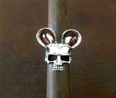 Mickey-Mouse-Half-Jaw-Skull-custom-SOLID-Sterling-Silver-925-Ring-Handmade