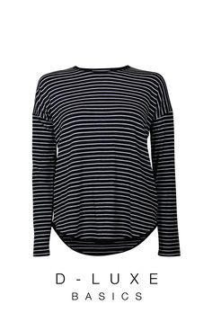 LUXE STRIPE RELAXED CREW NK