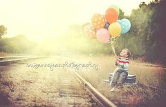 Kids photography - love the balloons and case and beautiful golden hour - by Suzanne Jean Photography. Got to try this with my sweetie.