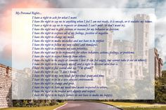 """I was doing some reading about boundaries and personal rights and it made me think of a castle. My life is now a castle in all its glory and splendor. You're probably thinking, """"how in …"""