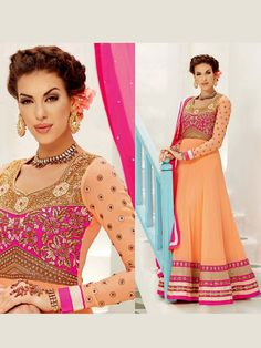 Stunning peach color floor length georgette anarkali having zari, kundan, stone work. Item Code: SLANA714 http://www.bharatplaza.com/new-arrivals/salwar-kameez.html