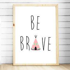Nursery Wall Art Prints. Girls Pink Tribal Teepee Print. Girls bedroom decor. Be Brave Nursery Print. Tribal nursery. Tribal Teepee Nursery Wall Art Print. Kids decor. Shop online Australia.