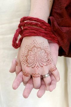 handfasting and henna: Handfasting was a common marriage ritual in medieval Europe. Henna was a common medieval wedding practice of Islamic, Jewish, and Christian women in the Mediterranean regions. Both have been combined in neopagan ceremonies. Pagan Wedding, Wedding Rituals, Medieval Wedding, Celtic Wedding, Viking Wedding, Hand Fastening Ceremony, Handfasting Cords, Dream Wedding, Wedding Day