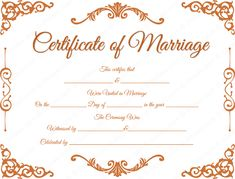 Traditional Corner Marriage Certificate Format for PDF Certificate Format, Wedding Certificate, Gift Certificate Template, Marriage Certificate, Funny Certificates, Printable Certificates, Marriage Tips, Happy Marriage, Marriage Cards