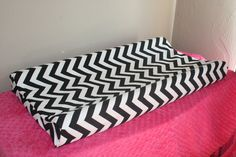 Black and White Chevron Contour Changing Pad Cover