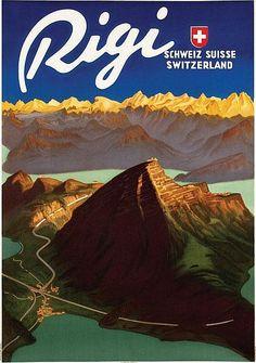 Vintage Travel Poster - Rigi - Switzerland - by Carl Moos.