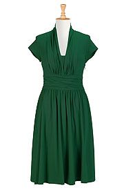 Pleated cotton knit dress  on discounted price from eShakti.com. Use coupon and promo codes.