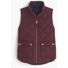 J.Crew Excursion Quilted Vest ($170) ❤ liked on Polyvore featuring outerwear, vests, j crew vest, quilted down vest, slim vest, lightweight down vest and vest waistcoat