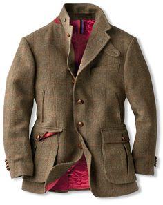 Damen mantel aus harris tweed