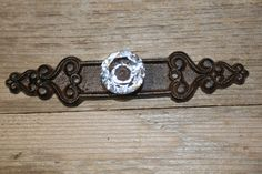 Crystal Look With Brown Backplate Drawer Pull, Cast Iron, Free Ship Cast Iron Shelf Brackets, Back Plate, Drawer Pulls, Cabinet Hardware, Perfect Match, Handmade Items, It Cast, Free Shipping