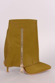 Fold Down Shaft Zipper Accent Stiletto Booties