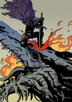 Hawkwood The Deserter - Ancient Wyvern Dark Souls 3, Demon's Souls, Dark Fantasy, Dibujos Dark, Mike Mignola Art, Soul Saga, Dark Blood, Happy Soul, Anime Meme