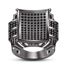 Unique Design 925 Silver 14K Black Gold Finish Round Multi-Stone Men's Band Ring #Biejojewels #MensRing