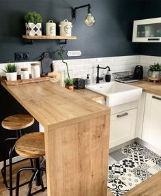 60 Small Kitchen Design Ideas To Make Your Home More Awesome, Home Decor Kitchen, Kitchen Interior, Home Kitchens, Budget Home Decorating, Home Improvement Loans, Little Kitchen, Kitchen Remodel, Sweet Home, Design Ideas