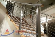 Stainless Steel Rod Balustrade:-Stainless steel double flat bar posts with pin & OD top rail with OD horizontal rod infills. Stainless Steel Balustrade, Stainless Steel Rod, Metal Working, Metalworking, Stainless Steel Bar, Stainless Steel Railing